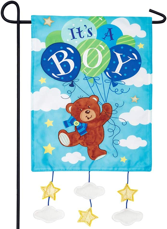 Custom Decor It's a Boy - Garden Size, Emboidered Applique Style, Double Sided Decorative Flag - Approx. 12 Inch X 17.98 Inch