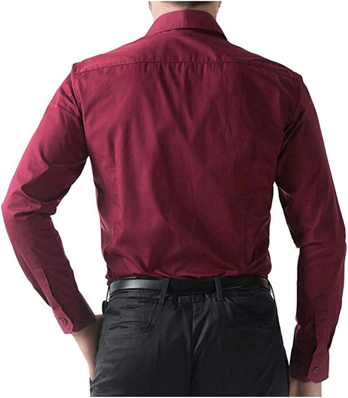 Vepodrau Men Button Up Shirts Casual Long Sleeve Slim Fit Dress Shirt