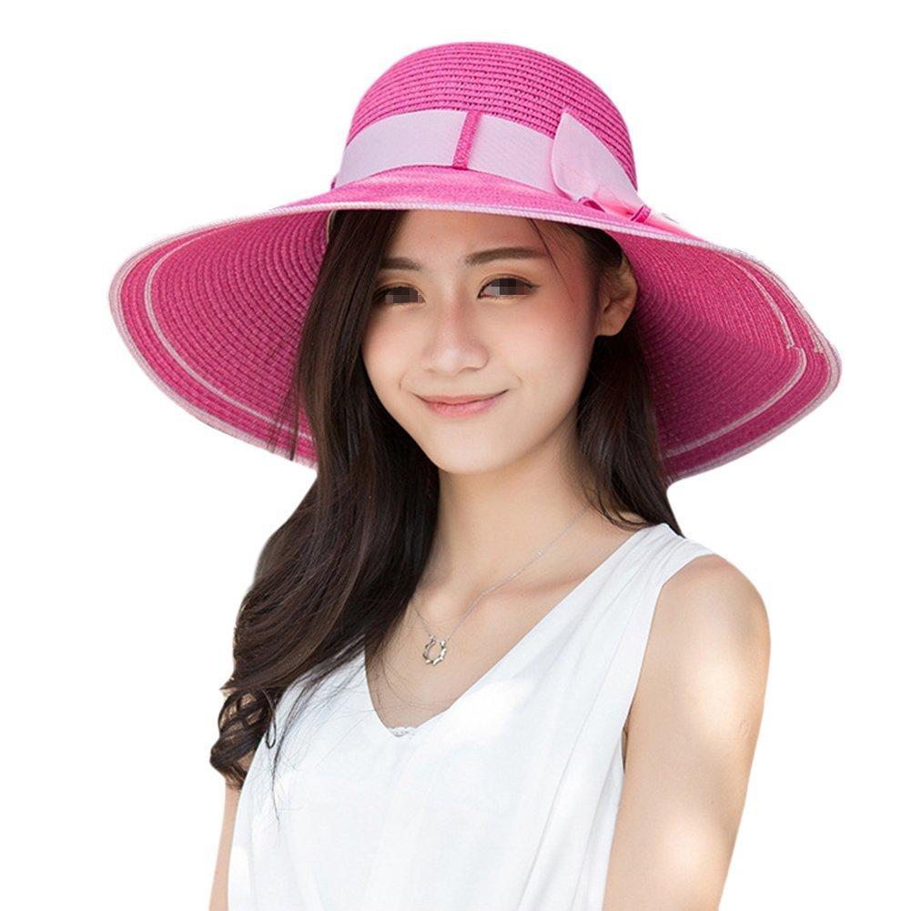 TININNA Elegante Pieghevole all'aperto Cappello di paglia estate Protezione del sole Cappello della spiaggia di estate a tesa larga Berretto da sole(Beige)