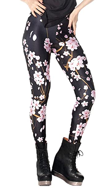 f212282ae6fe2c DODOING Leggings Blumenmuster, Cherry Blossom Digital Printed Tight Leggings  Yoga Pants Workout Gym Fitness Sports