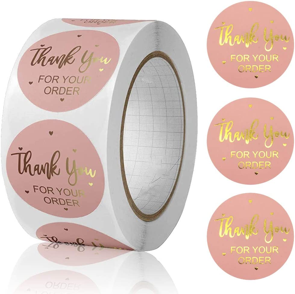 1.5 500 PCS Brown Thank You Stickers Roll Thank You for Supporting My Business Kraft Stickers Labels Thank You Sealing Stickers for Packages Gift Bags Wedding Favors Envelopes Bakery