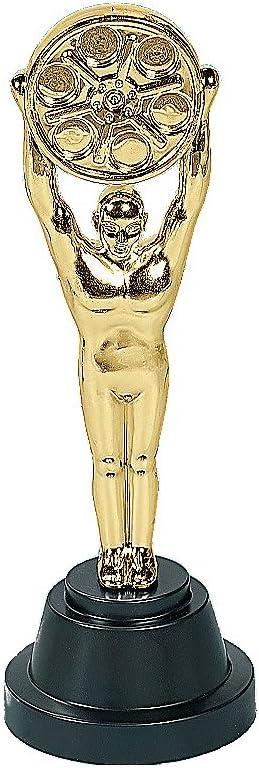 "Plastic Movie Reel Award Statues (1 Pack) 9"". Movie Buff Gold Trophies"