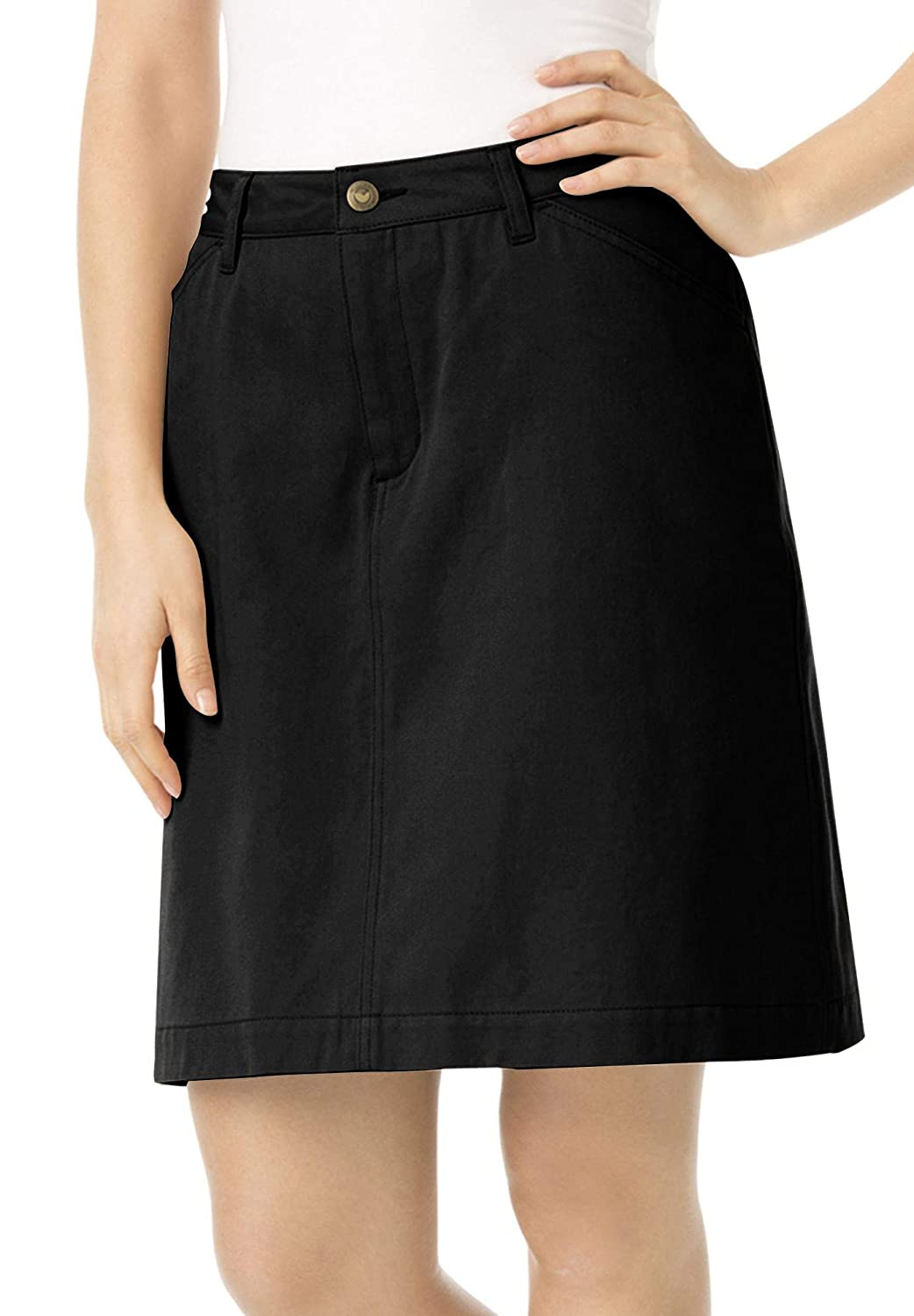 Woman Within Plus Size Cotton Jean Skort