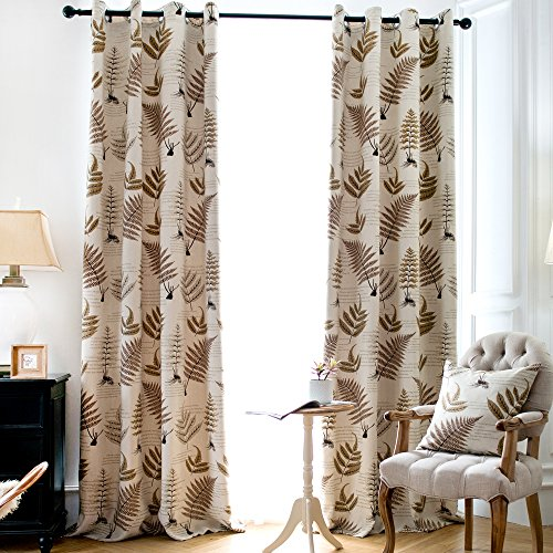 Jaoul Botanical Fern Leaves Linen Blackout Grommet Top Thermal Insulated Curtains Drapes for Living Room, 52 by 63 Inch, Beige/Brown, 1 Panel (Curtains Blackout Leaf)