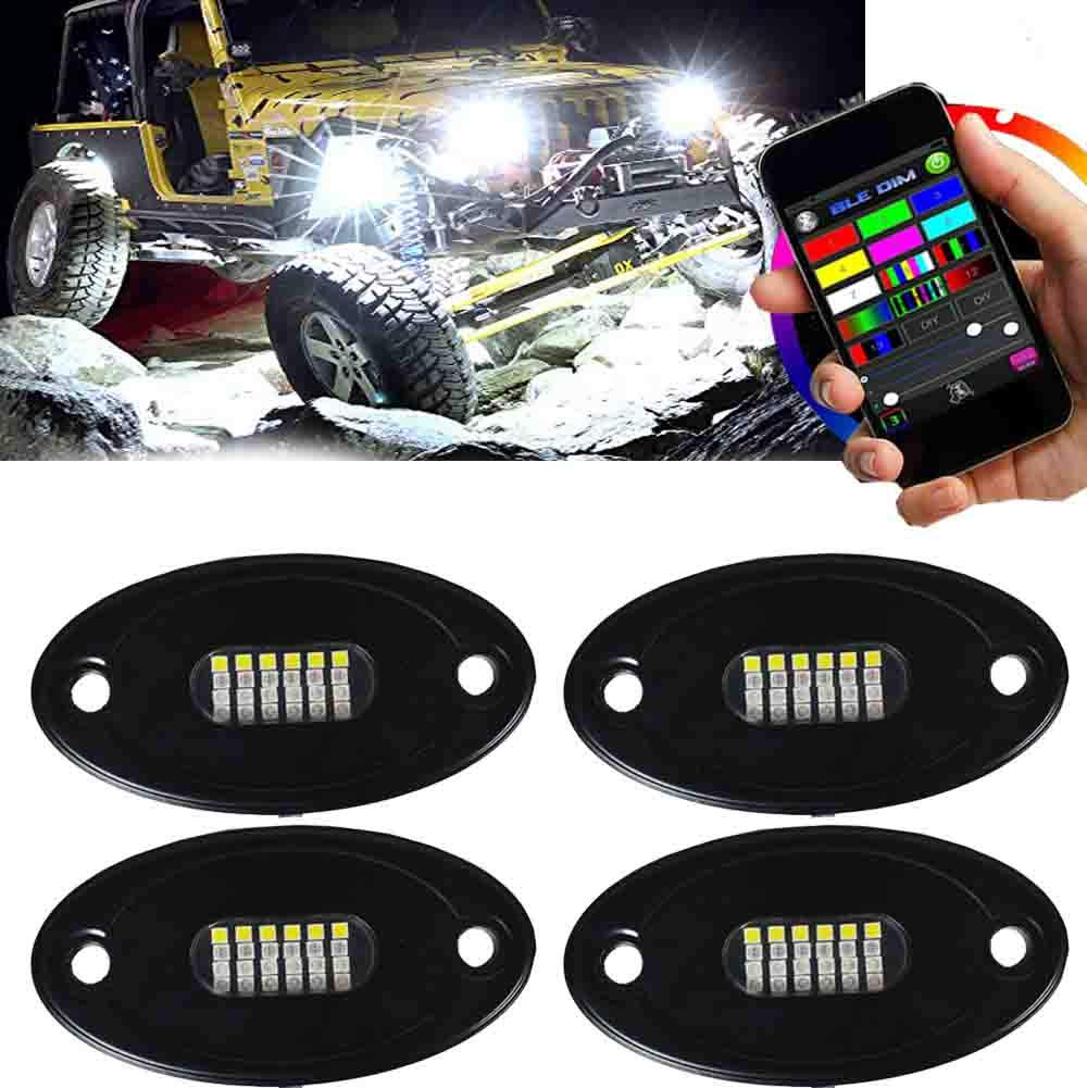 Northpole Light 4 Pods RGB LED Rock Light Kits with Bluetooth Control Waterproof Underbody Glow LED Neon Trail Rig Lights for Car Truck Jeep Offroad ATV UTV Raptor Boat
