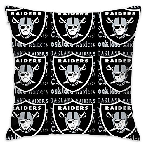 Marrytiny Custom Pillowcase Colorful Oakland Raiders American Football Team Linen Bedding Pillow Covers Pillow Cases for Sofa Bedroom Bedding Car Home Decorative - 18x18 Inches