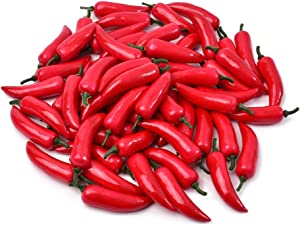 Hagao Fake Red Pepper Simulation Lifelike Hot Chili for Home Kitchen Party Pub Decoration Cabinet Ornament 50 pcs