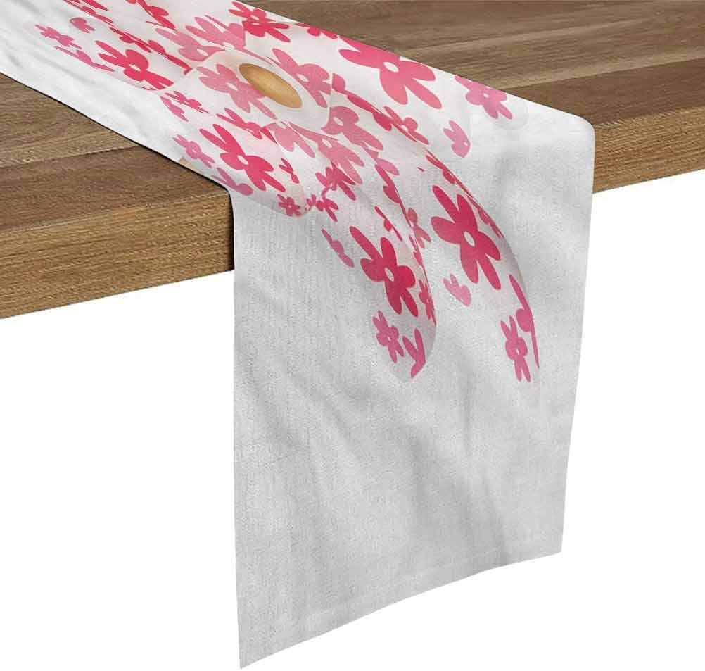SoSung Table Runner for Living Room 16x72 Inch Pinwheel,Figure with Pink Flowers Dresser Scarfs and Runners for Bedroom Dining Room Kitchen Table Decor,Outdoor or Indoor Parties
