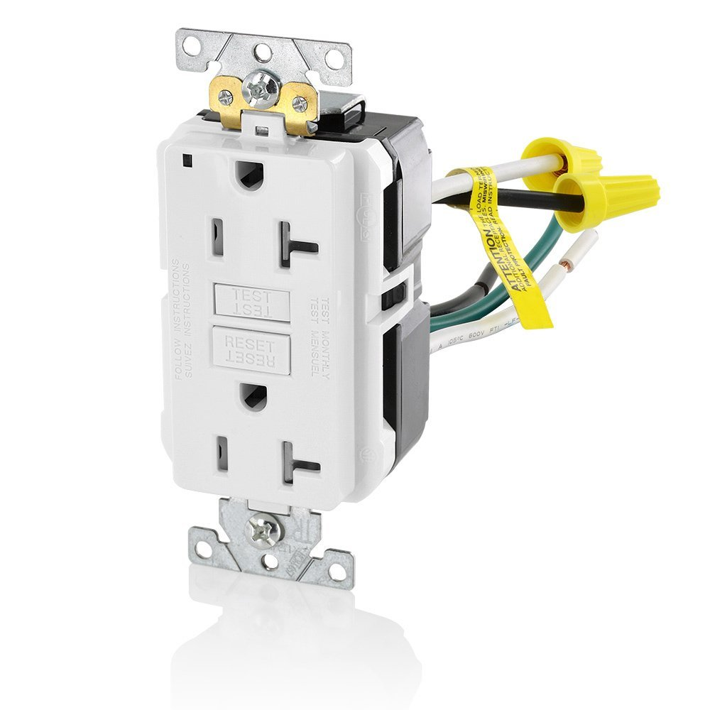 Leviton GFTR2-5LW 20A-125V Extra-Heavy Duty Industrial Grade Leaded Duplex Tamper-Resistant Self-Test GFCI Receptacle, 20-Amp, White,