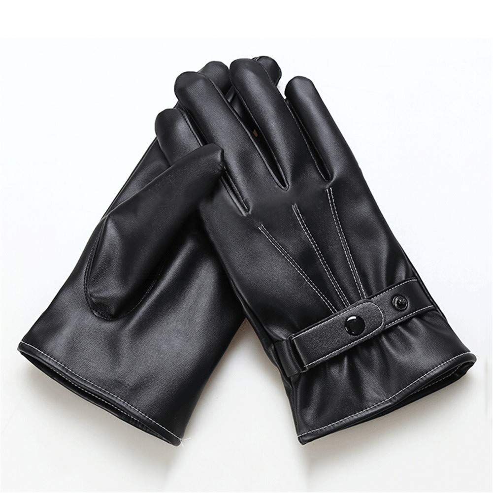 Aimeely Mens Cool Winter PU Leather Gloves Warm Touchscreen Full Finger Glove