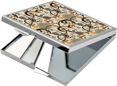 مرآة جيب، بتصميم زخرفة احرف عربية ، شكل مربع