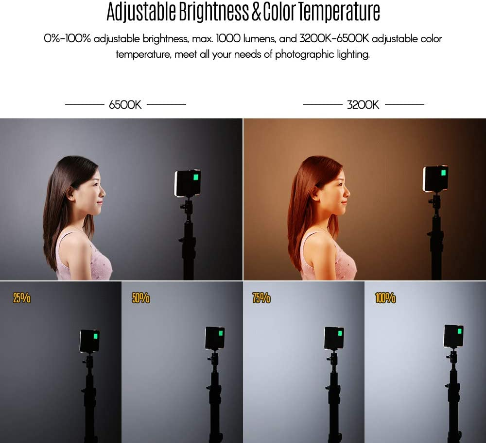 RuleaxA NiceFoto SL-80A Portable 3200K-6500K Pocket LED Video Light Dimmable Photographic Fill Light with Built-in 2500mAh Lithium Battery CRI 96 for Portrait Still Life Photography Live Show Selfie