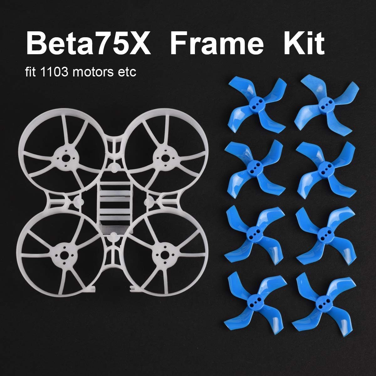 BETAFPV Beta65X 2S Whoop Frame Kit with 2 Sets 31mm 4-Blade Props 1.0mm Shaft Blue for 65mm 2S Whoop Drone like Beta65X BNF