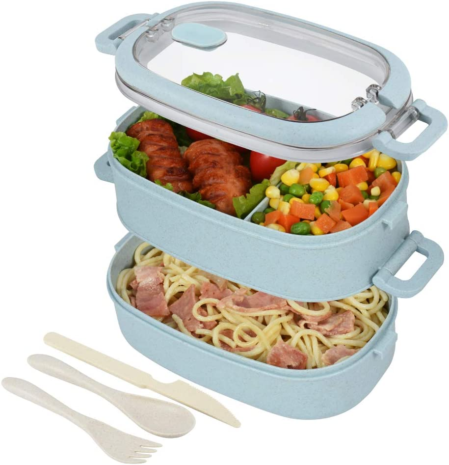 hombrima Lunch Box, Kids Bento Boxes Container With 2-Layer 3-Compartment Cultery Sets for Children Adult Work School, Suitable For Microwave Dishwasher (Blue)