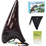 Ocarina 12 Tones Alto C with Song Book Neck String Neck Cord Carry bag for students beginners (Brown)