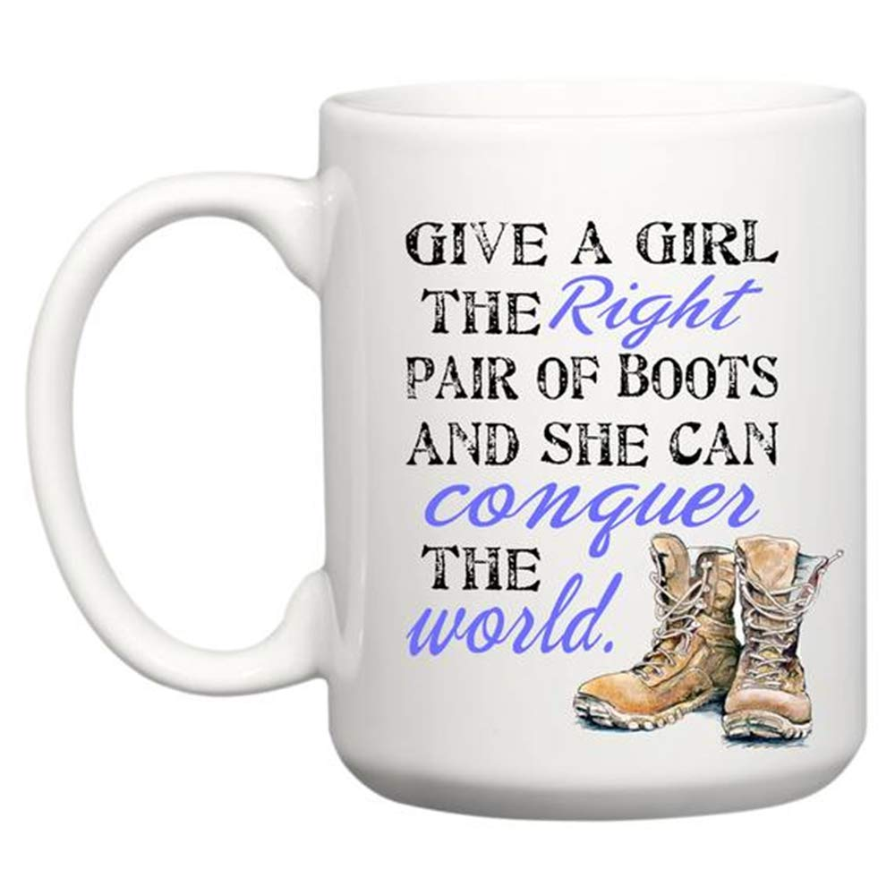 Boot Camp Graduation Gift - PCS Gift - Air Force - Army - Navy - Military Gift - Give a Girl the Right Pair of Boots - Basic Training, 11oz Ceramic Coffee ...
