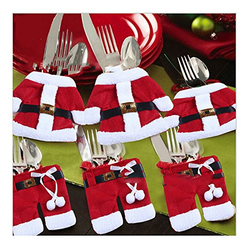Christmas Dinner Party Decorations Happy Santa Claus Tableware Silverware (A: Non-woven) from Unknown