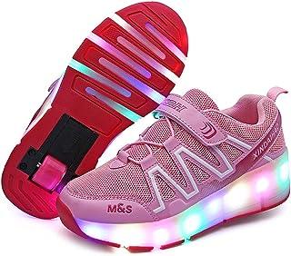 Charmstep Enfants LED Clignotante Chaussures à Skates avec roulettes Unique/Doubles Bouton Poussoir Ajustable USB Patins à roulettes Course à Pied Sneakers pour Garçons Filles