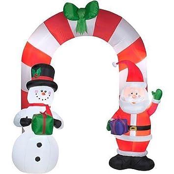 9 santa and snowman archway inflatable airblown holiday presents - Snowman Santa