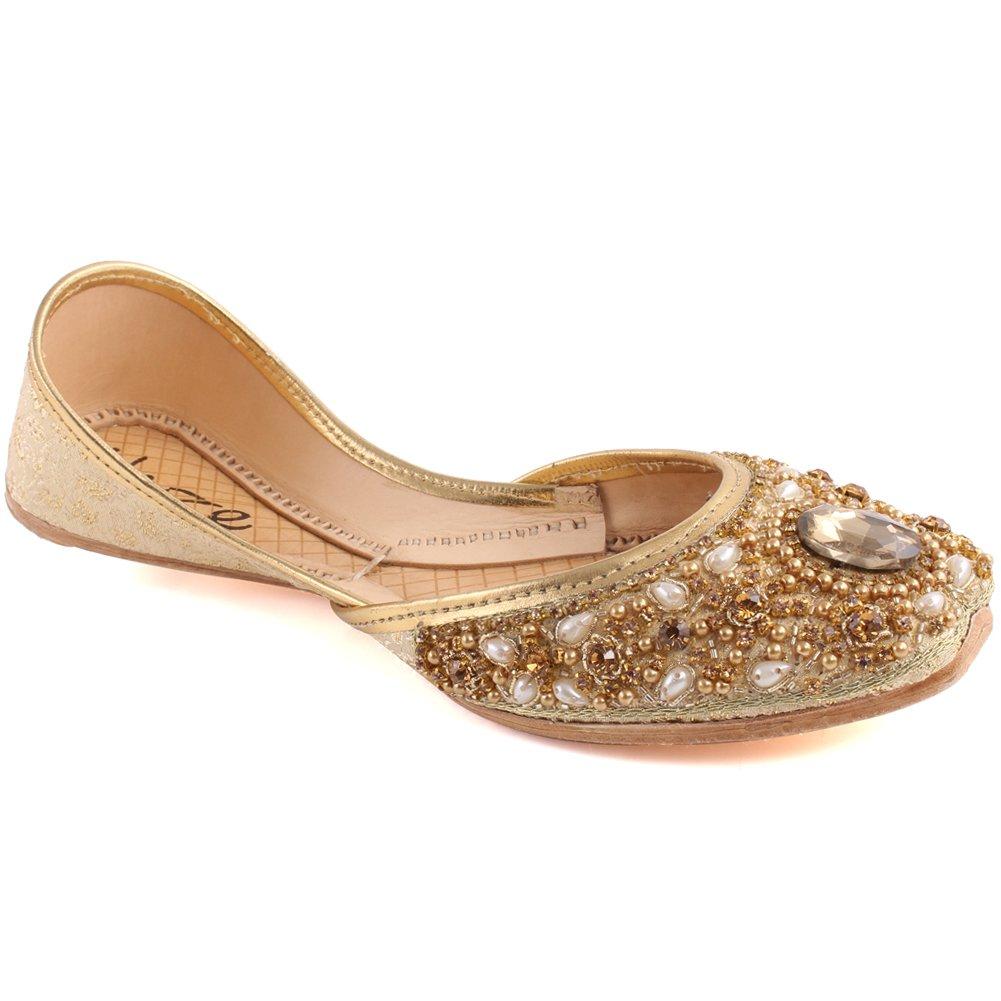 Unze Women  Alanna  Beaded Girls Wedding Pearls Flats Oval Stone Indian Sari Bridal Khussa UK Size 3-8 - WS-28 B07F6C9VK9 10 B(M) US|Gold