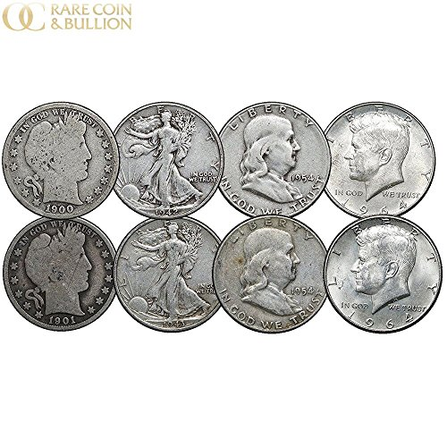 (1892-1964 Barber, Walking Liberty, Franklin & Kennedy Silver Half Dollars, 4 Face, 8 Coins)