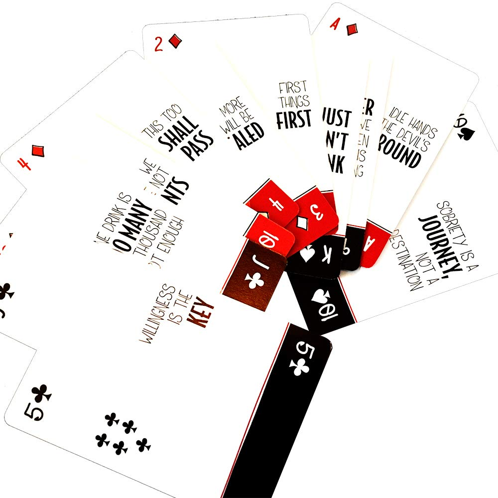 Sober Playing Cards - Recovery Slogans & Inspirational Sayings | Sobriety Gifts in Alcoholics Anonymous | 12 Step Recovery Card Games
