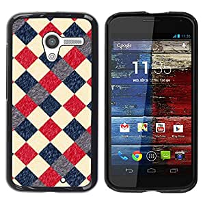 Paccase / SLIM PC / Aliminium Casa Carcasa Funda Case Cover para - Plaid Checkered Pattern Blue Red - Motorola Moto X 1 1st GEN I XT1058 XT1053 XT1052 XT1056 XT1060 XT1055