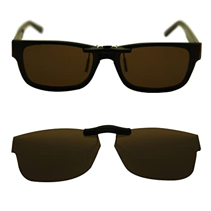 130bab8ab7c oGeee Custom Polarized Clip On Sunglasses for Ray-Ban RX5268 50mm 50-17-135  (Brown) - - Amazon.com