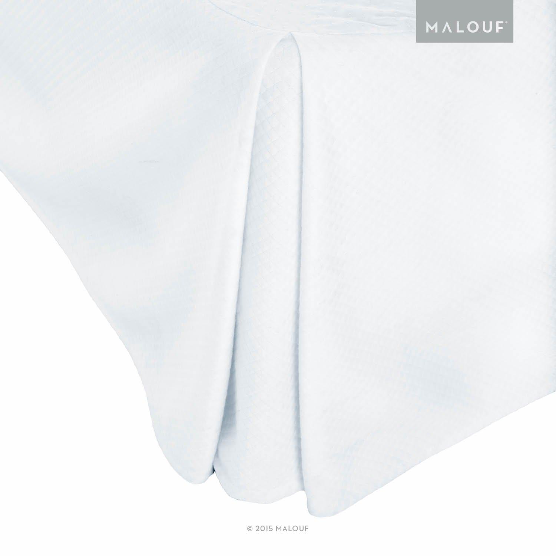 MALOUF WO14MDKKBE Woven Matelasse Solid White 14-Inch Bed Skirt - King Size