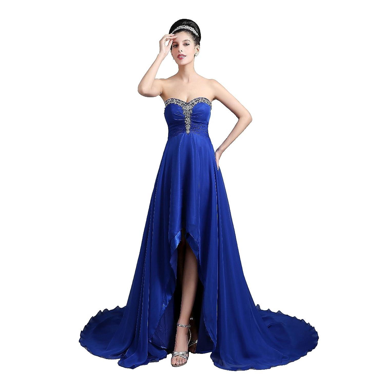 Babyonline® Damen Trägerlos Asymmetrisch Lang Abendkleider Party Kleider