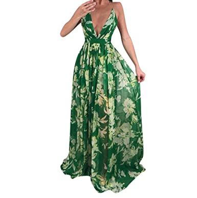 06ebb1d97f224 CocoMarket Women Sexy Floral Printed V-Neck Sleeveless Chiffon Evening  Party Long Dress at Amazon Women's Clothing store: