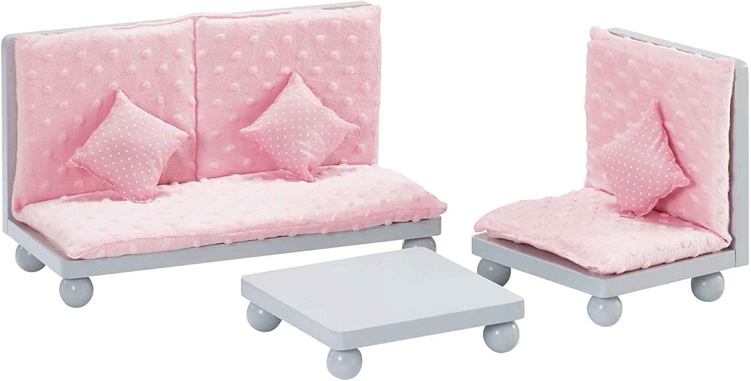 Olivia's Little World - 18 inch Doll Furniture Accessories Princess Sofa & Coffee Table Living Room Lounge Set with Pink Cushion Wooden Cushion Grey Polka Dots