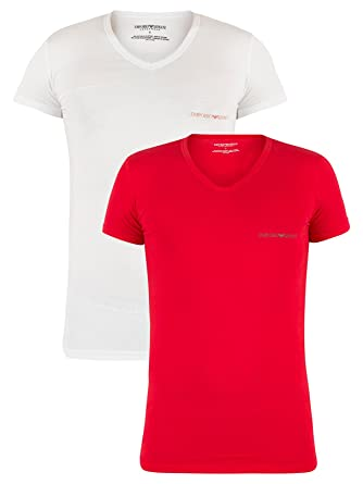 14c73c27928c5 Emporio Armani Men s 2 Pack Chest Logo V-Neck T-Shirts ...