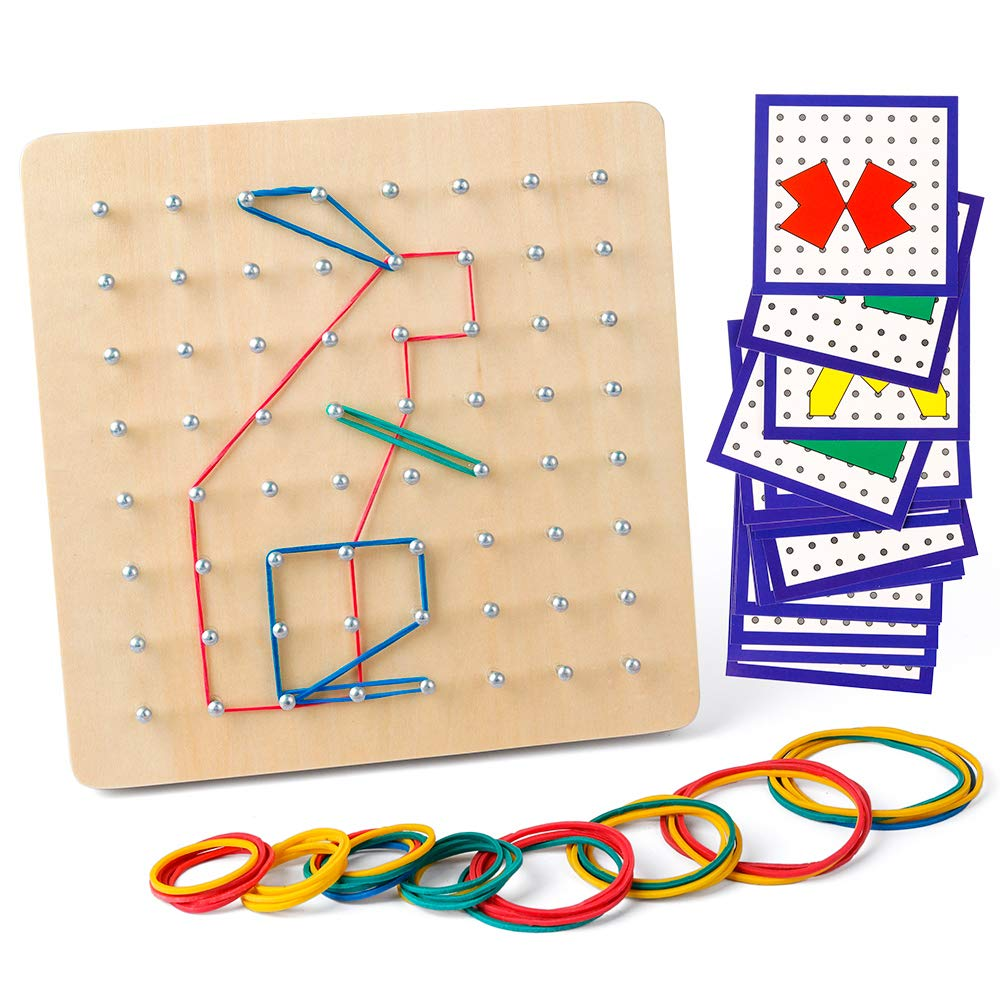 Coogam Wooden Geoboard Mathematical Manipulative Material Array Block Geo Board - Graphical Educational Toys with 24Pcs Pattern Cards and Rubber Bands Shape STEM Puzzle Matrix 8x8 Brain Teaser for Kid by Coogam