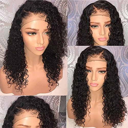 9af216ed4 Amazon.com: 13x6 Lace Front Human Hair Wigs Wet Wavy 150% Density For Women  Natural Black Brazilian Remy Hair Curly Glueless Top Lace Wigs Pre Plucked  With ...