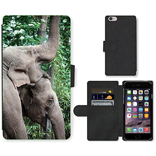 """Just Phone Cases PU Leather Flip Custodia Protettiva Case Cover per // M00127722 Elephant Pachyderme Zoo animaux Grand // Apple iPhone 6 PLUS 5.5"""""""