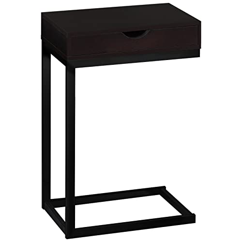 Monarch Specialties C Accent Table with Drawer-Black Metal Base, Cappuccino