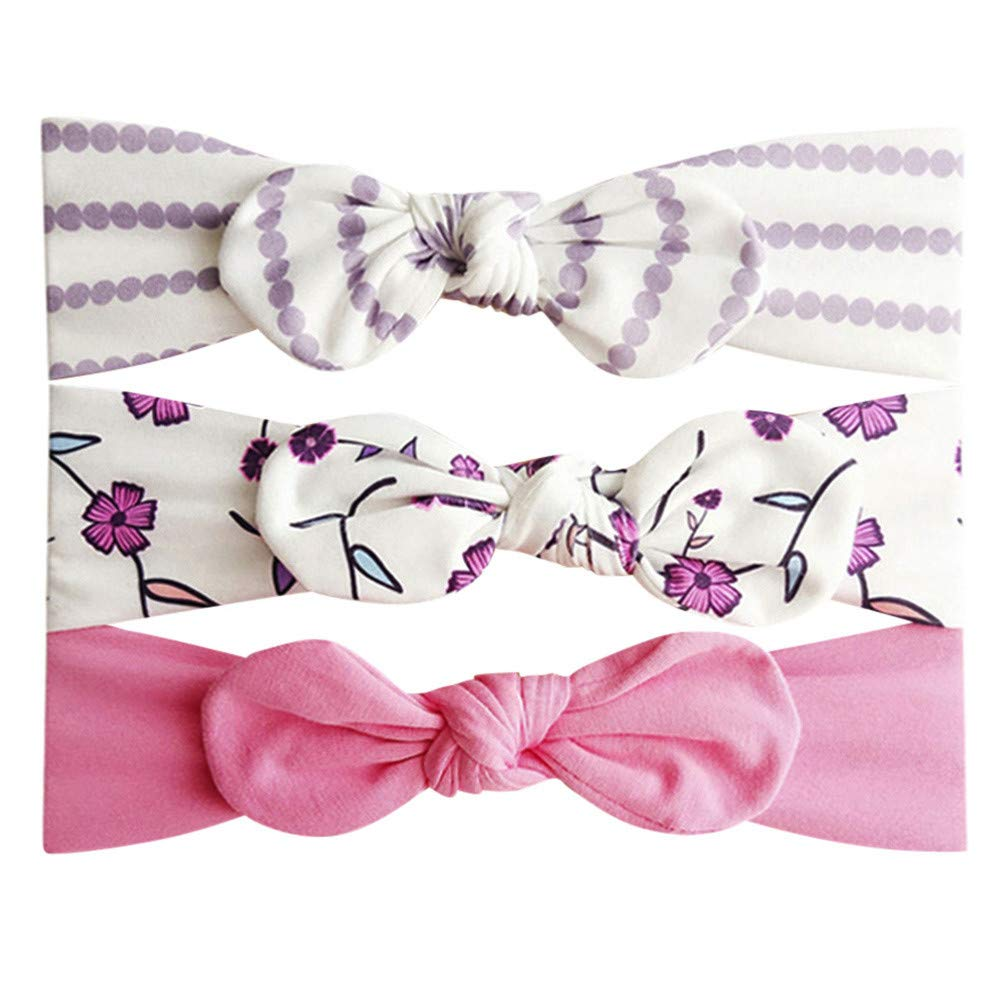 0-3 Years Old, 3Pcs Kids Floral Headband Hair Girls baby Bowknot Accessories Hairband Set (D) COOKDATE-headband