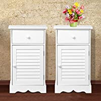 go2buy Bedside Table Cabinets Nightstands Storage Drawer Cupboard Units Adjustable Height Shelf in White Set of 2