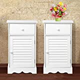 go2buy Bedside Table Cabinets Nightstands with Storage Drawer and Cupboard Units Adjustable Height Shelf in White Set of 2