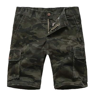 Lavnis Men's Cotton Cargo Shorts Casual Classic Fit Multi-Pockets Shorts   .com