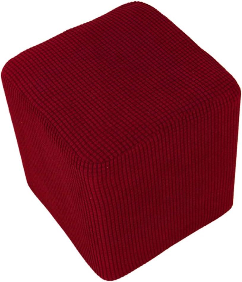 Lavable MERIGLARE Housse de Pouf Extensible Housse de Pouf Rectangle Tabouret de Pied Housse de Repose-Pieds Pouf avec Fond /élastique Beige