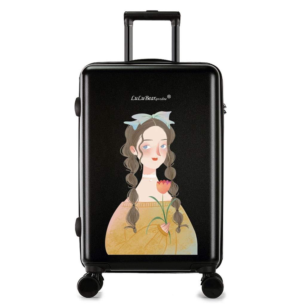 FRF トロリーケース- 学生漫画トロリースーツケース、男性と女性のユニバーサルホイールロックボックス (色 : Black D, サイズ さいず : 18in) B07R337MSL Black D 18in
