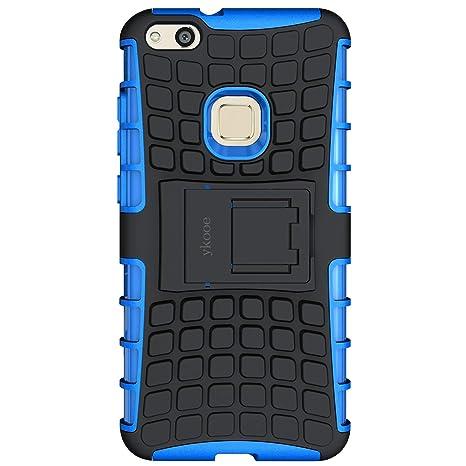 "ykooe Funda Huawei P10 Lite, Teléfono Híbrida de Doble Capa con Soporte Carcasa para Huawei P10 Lite 5,2"" (Huawei P10 Lite Azul)"