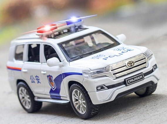 Un Regalo per Gli Appassionati di Auto doudouTU 1:32 Land Cruiser Police Modello in Lega Squisitamente Pressofuso 6 Porte Modello di Veicolo per Il Suono E La Ritirata della Luce