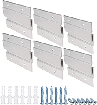 French Cleat Picture Hanger, Aluminum Z Hanger Interlocking Wall Mounting Bracket Hardware Kit Z Clips for Hanging Wall Painting, Mirrors, Panels, Artwork, Cabinet, Whiteboard (2inch-6Pairs)