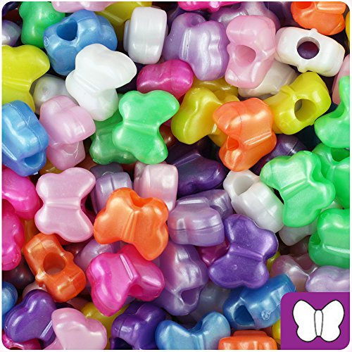 BeadTin Pearl Multi 13mm Butterfly Pony Beads (250pcs)]()