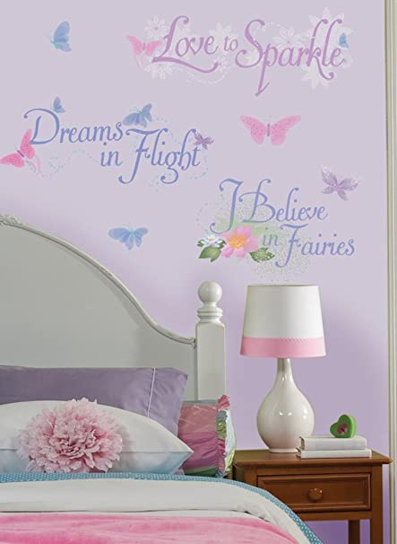 DISNEY FAIRIES Wall Stickers Quotes Decals TINKERBELL Room Decor ...