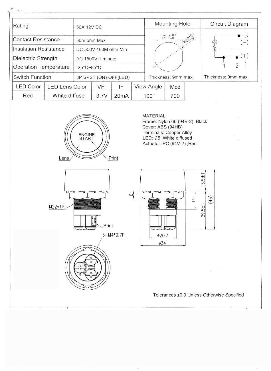 12v 24v 50a Car Vehicle Engine Start Push Button Switch Ignition Wiring Diagram Spst In Parrallel Starter Blue Automotive