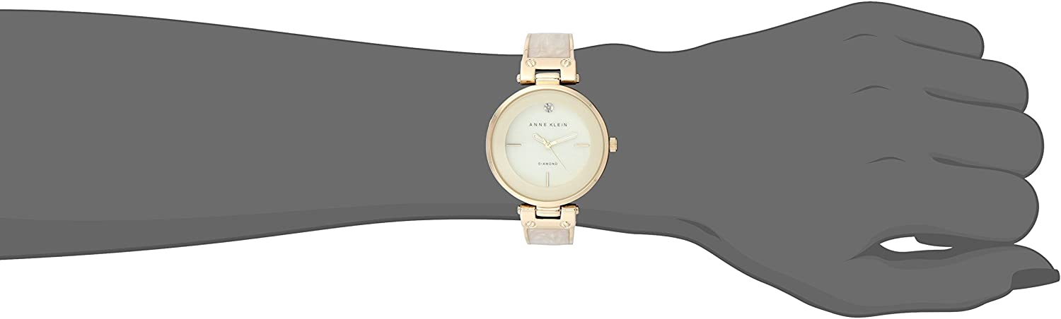 Anne Klein Women's Diamond-Accented Dial Bangle Watch Gold/Ivory